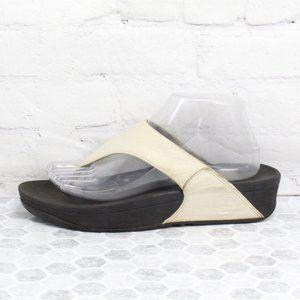 FITFLOP Lulu Beige Leather Flip flops Sandals Sz 8